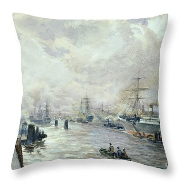 Sailing Ships In The Port Of Hamburg Throw Pillow by Carl Rodeck
