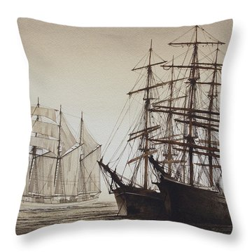 Sailing Ships Throw Pillow by James Williamson