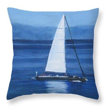 Sailing The Blues Throw Pillow