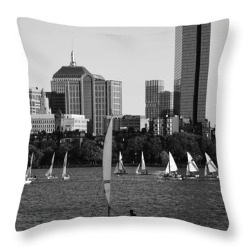 Sailing The Charles River Boston Ma Black And White Throw Pillow