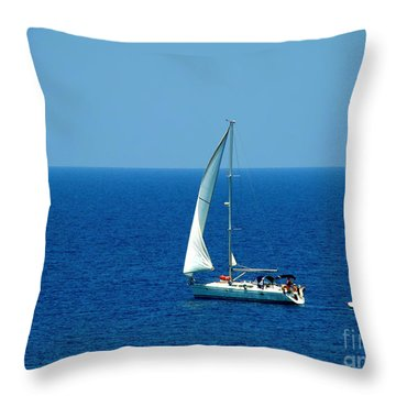 Sailing The Deep Blue Sea Throw Pillow by Sue Melvin