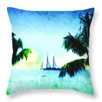 Sailing The Keys Throw Pillow by Bill Cannon
