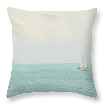 Throw Pillow featuring the photograph Sailing The Ocean Blue by Deborah  Crew-Johnson