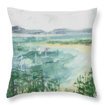 Throw Pillow featuring the painting Sailing The South Of France by Reed Novotny