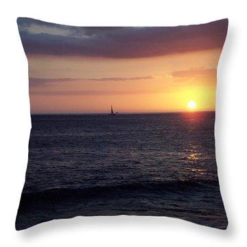 Sailing The Sunset Throw Pillow