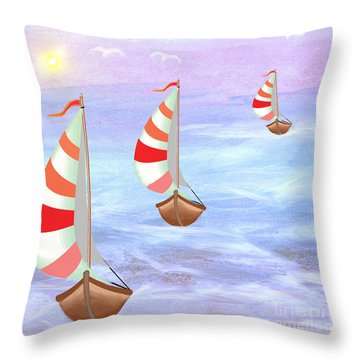 Sailing Threesome Throw Pillow