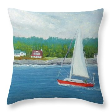 Sailing To New Harbor Throw Pillow