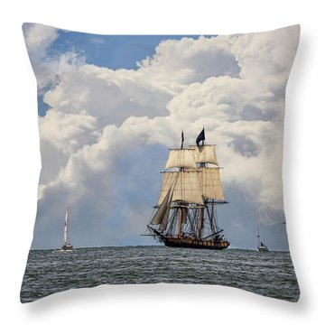 Throw Pillow featuring the photograph Sailing To Port by Dale Kincaid