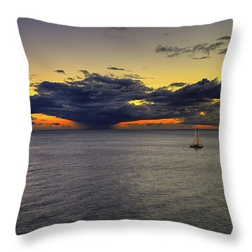 Sailing To Sunset Throw Pillow