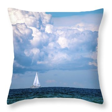 Sailing Under The Clouds Throw Pillow