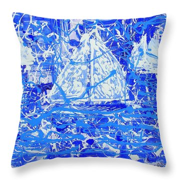 Throw Pillow featuring the painting Sailing With Friends by J R Seymour