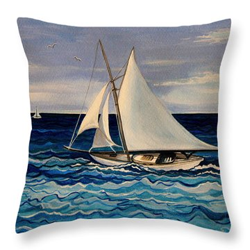Sailing With The Waves Throw Pillow