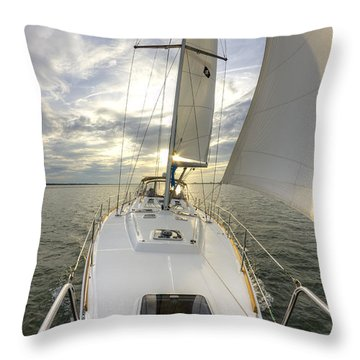 Sailing Yacht Fate Beneteau 49 Throw Pillow by Dustin K Ryan
