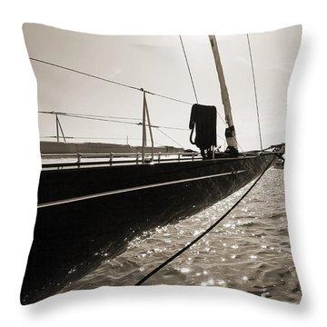 Sailing Yacht Hanuman J Boat Bow Throw Pillow by Dustin K Ryan