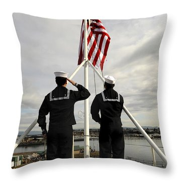 Sailors Raise The National Ensign Throw Pillow