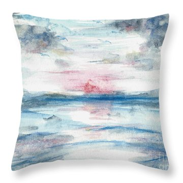 Throw Pillow featuring the painting Sailors Warning by Reed Novotny
