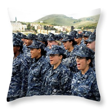 Sailors Yell Before An All-hands Call Throw Pillow