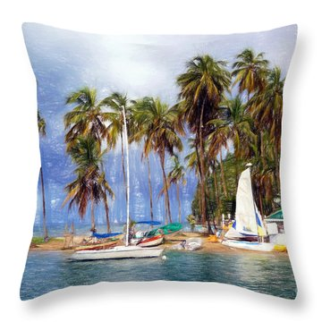 Sails And Palms Throw Pillow by Sue Melvin