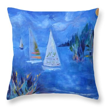 Sails And Sun Throw Pillow