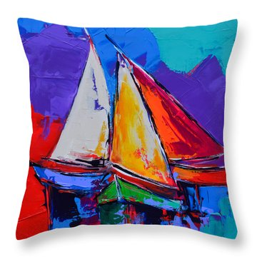 Sails Colors Throw Pillow by Elise Palmigiani