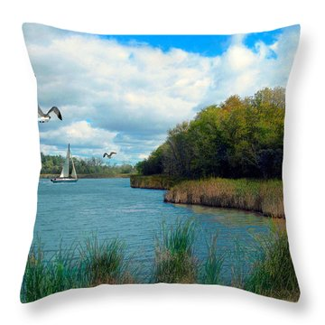 Sails In The Distance Throw Pillow