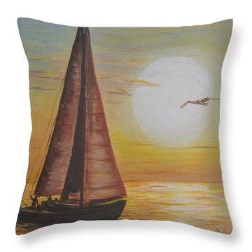 Throw Pillow featuring the painting Sails In The Sunset by Debbie Baker