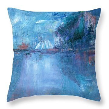Sails Off Sand Island Throw Pillow