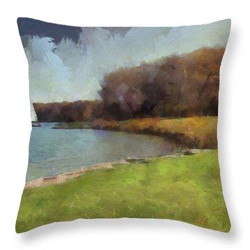 Sails On Lake Wampum Throw Pillow
