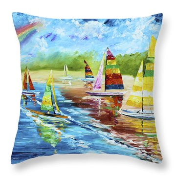 Sails On The Beach Throw Pillow