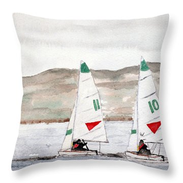 Sails On Thunder Bay Throw Pillow by R Kyllo