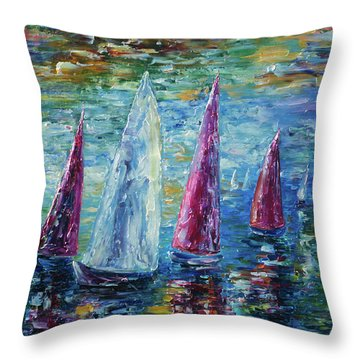 Sails To-night Throw Pillow