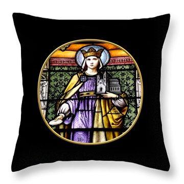 Throw Pillow featuring the photograph Saint Adelaide Stained Glass Window In The Round by Rose Santuci-Sofranko