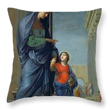 Saint Anne Leading The Virgin To The Temple Throw Pillow by Jacques Stella