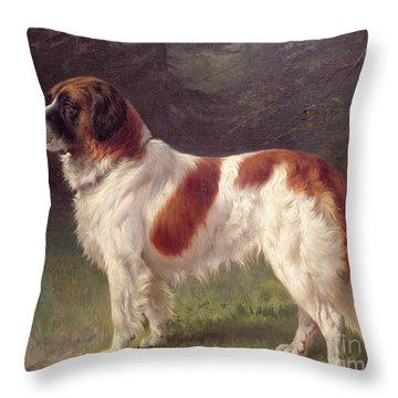 Saint Bernard Throw Pillow by Heinrich Sperling