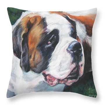 Saint Bernard Throw Pillow by Lee Ann Shepard