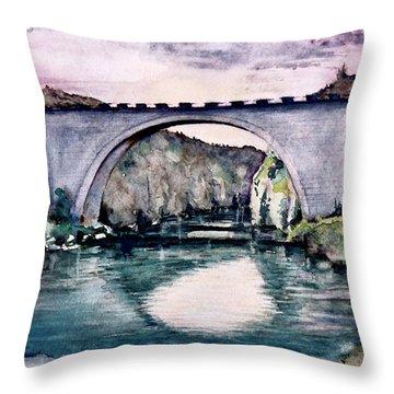Throw Pillow featuring the painting Saint Bridge by Geni Gorani