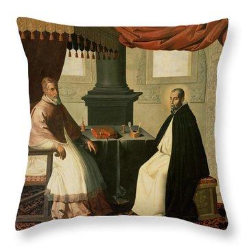 Saint Bruno And Pope Urban II Throw Pillow by Francisco de Zurbaran
