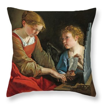 Saint Cecilia And An Angel Throw Pillow