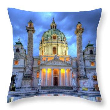 Saint Charles's Church At Karlsplatz In Vienna, Austria, Hdr Throw Pillow