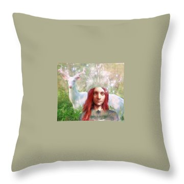 Throw Pillow featuring the painting Saint Dymphna The Healer by Suzanne Silvir