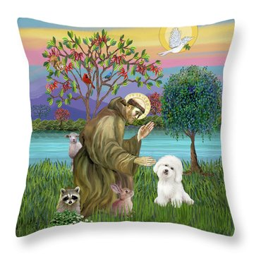 Saint Francis Blesses A Bichon Frise Throw Pillow