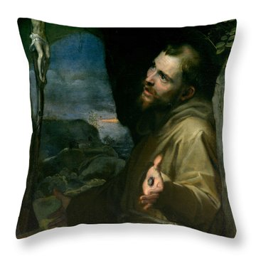 Throw Pillow featuring the painting Saint Francis by Federico Barocci