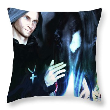 Throw Pillow featuring the painting Saint Francis Of Assisi by Suzanne Silvir