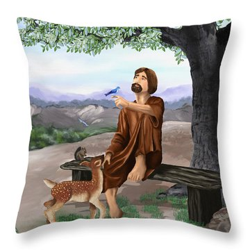 Throw Pillow featuring the painting Saint Francis by Susan Kinney