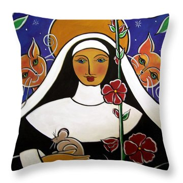 Saint Gertrude Of Nivelles Throw Pillow