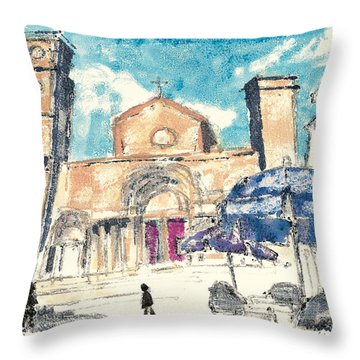 Throw Pillow featuring the painting Saint Gilles Abbey by Martin Stankewitz