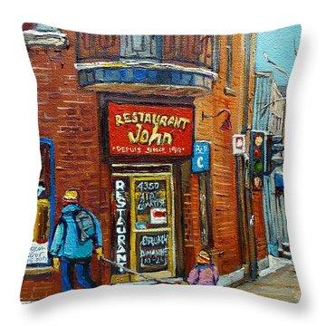 Saint Henri Street In Winter Throw Pillow by Carole Spandau