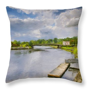 Saint John River Painting Throw Pillow