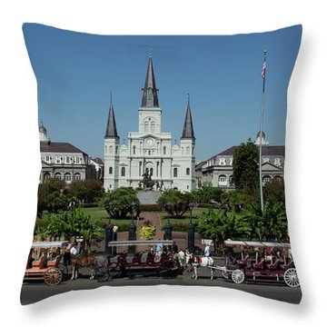 Saint Lewis Cathedral French Quarter New Orleans, La Throw Pillow