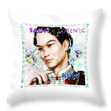 Throw Pillow featuring the painting Saint Lorenzo Ruiz Of The Philippines by Suzanne Silvir